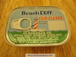 Canned Fish Steaks (Herring) with Green Peppers