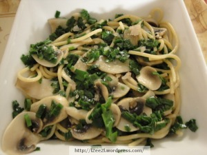 Pasta, Green Onions, and Mushrooms
