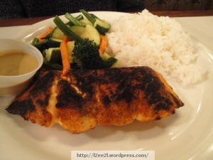 Blackened Salmon,Rice, Mixed Vegetables