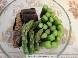 Steamed Asparagus and Braised Pork Belly in Soy Sauce