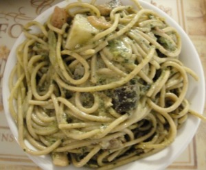 Vegetable Pasta with Basil Cream Sauce