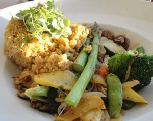 Sautéed Vegetables and Macadamia Nut Saffron Quinoa