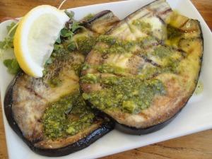 Grilled Marinated Eggplant with Kale Macadamia Nut Pesto