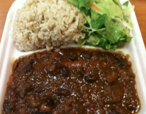 Chili Frank, Brown Rice, Tossed Salad