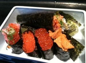 Spicy Tuna Handroll, Negitoro with Ikura, Tobiko, Ikura, and Uni