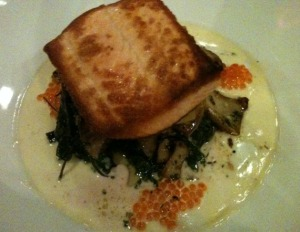 Pan-Seared Salmon, Wilted Kale, Ikura