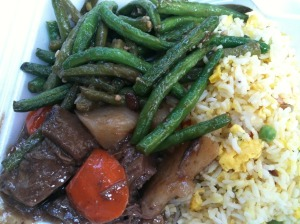 Beef and Tendon Stew, Green Beans, Fried Rice