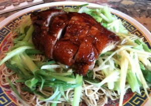 Ginger and Green Onions with Roast Duck Tossed Noodles