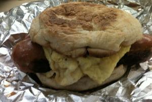 English Muffin, Scrambled Egg, Chicken Apple Sausage