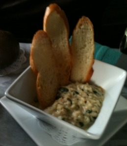 Seafood Artichoke Dip with Taro Bread Toast