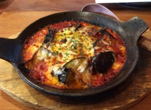Oven Grilled Eggplant, Tomato Based Meat Sauce