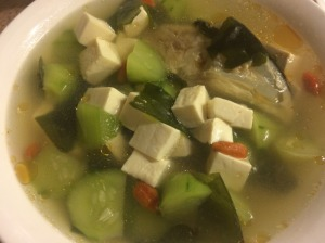 Fish Head, Cucumber, Tofu Soup