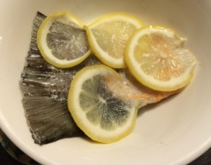 Steamed Salmon Tail with Lemon