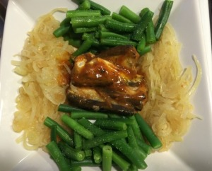 Green Beans, Sautéed Onions (White), and Sardines in Basil Tomato Sauce (Green and Red)