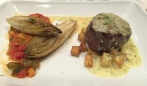 Sterling Silver Beef Tenderloin, Béarnaise Sauce, Pomme Parisienne, Braised Endive, Provencal Zucchini