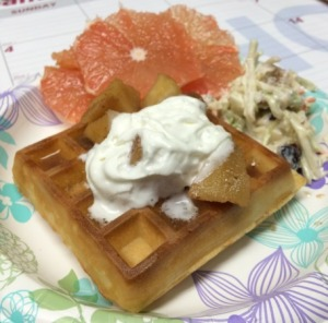 Frozen Waffle, Canned Apples, Walnut Raisin Slaw, and Grapefruit