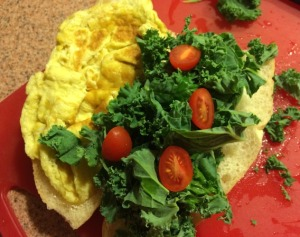 Scrambled Eggs, Chopped Kale on Mini Vietnamese French Bread