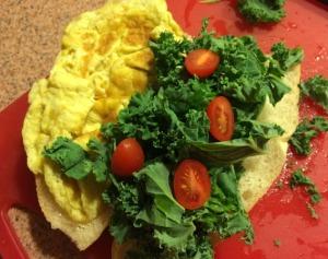 Scrambled Eggs, Chopped Kale on Mini Vietnamese French Bread