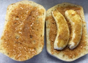 Peanut Butter and Banana on Ciabatta Bread with Brown Sugar