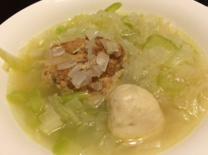 Onion, Celery, and Tofu Ball Soup with Fish Cake Ball