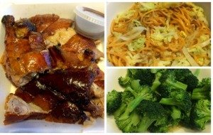Roast Duck, Boiled Spaghetti with Napa Cabbage, Steamed Broccoli with Toasted Sesame Oil