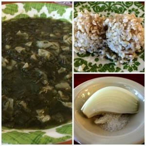 Pork Intestines with Luau Leaves, Brown Rice, Raw Onion with Hawaiian Salt