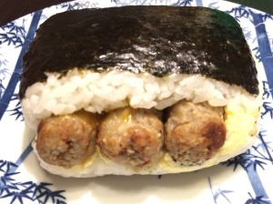 "Sausage Link and Scrambled Egg ""Musubi Sandwich"""