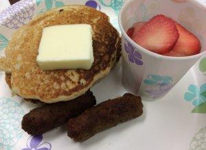 Wheat Germ Pancakes, Turkey Sausage, Macerated Strawberries