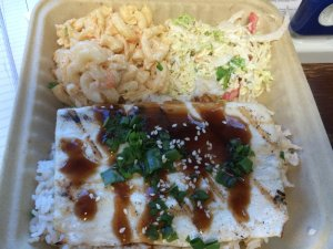 Grilled Ono, Soy Sesame Sauce, Hapa Rice, Tuna-Mac Salad, South Shore Slaw