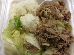 Kalua Pork and Cabbage, Tossed Greens, Rice