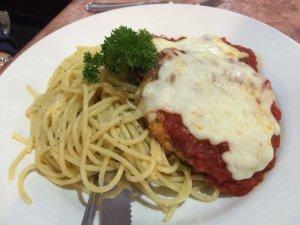 Eggplant Parmesan w/ marinara, mozzarella & spaghetti
