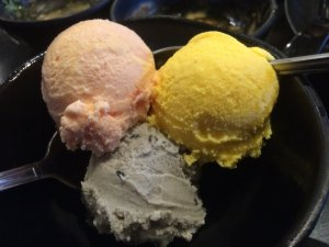 Plum, Mango, and Black Sesame Ice Cream