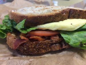 Bacon and Egg Sandwich with Lettuce and Tomato