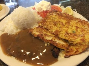 Grilled Mahi Mahi with Hamburger Steak