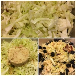 Cabbage, Canned Tuna, Sun-Dried Tomato, Black Olives