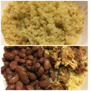 Quinoa, Cooked Azuki Beans (plain, no salt, no sugar), and Lu Rou