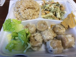 Pork Shumai, Brown Rice, Pasta Salad