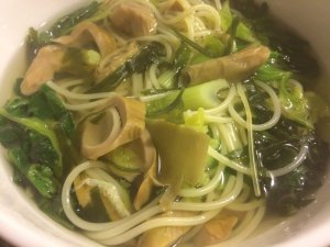 Cat's Noodles with Preserved Bamboo Shoots, Seaweed, and Dried Green Vegetable