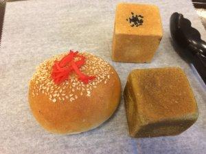 Beef Bun, Square Azuki Bun, Square Matcha Mochi Azuki Bun