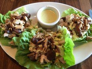 Chicken Quinoa Mango Kale Lettuce Wraps