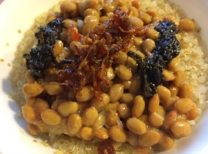 Quinoa, Natto, XO Sauce, Preserved Olive Leaves