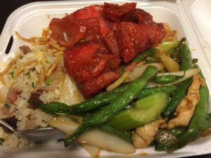 Chow Mein, Fried Rice, Kau Yuk, and Green Beans with Chicken