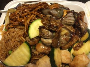 Chow Mein, Fried Rice, Spicy Eggplant with Tofu, and Mushroom Chicken