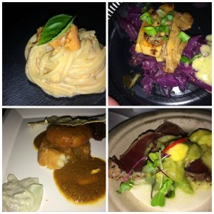 Uni Pasta, Braised Pork Belly with Red Cabbage, Curry Shrimp Something, and Seared Ahi
