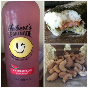 Bottle of Lemonade, SPAM Musubi (sandwich style), Bag of Cashews