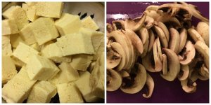 Frozen Tofu and Sliced Button Mushrooms