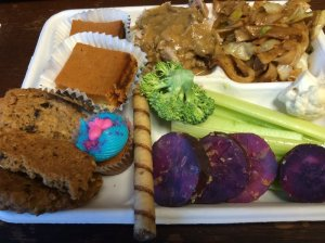 Turkey with Gravy, Fried Noodles, Purple Sweet Potato, Various Desserts