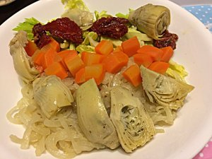 Sautéed Onion, Marinated Artichoke, Boiled Carrot, Celery, and Sun-Dried Tomato in Olive Oil
