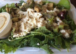 Avocado and Tofu Salad on Mixed Greens
