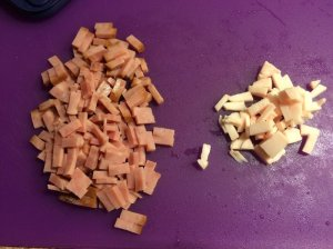 Diced Ham and Pork Fat (just a little)